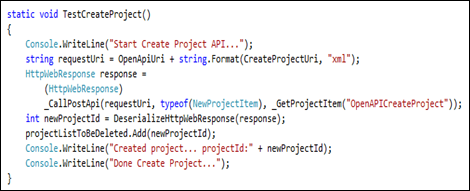 Create Project Code